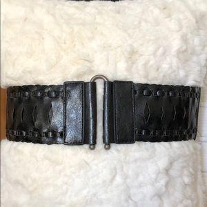 Black wide stretchy leather-like belt, adorable!!!